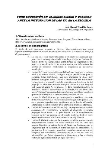 Foro Educación en valores - Páxinas persoais - USC