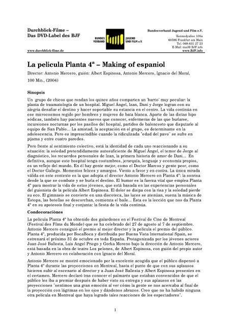 La pelicula Planta 4ª – Making of espaniol