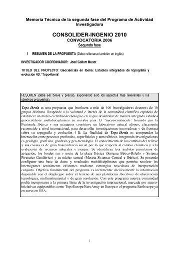Programa de actividad investigadora - Instituto Geológico y Minero ...