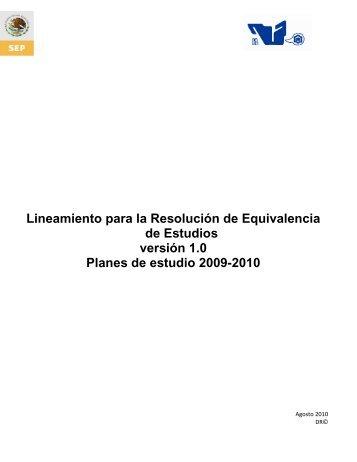 Lineamiento para la Resolución de Equivalencia de Estudios ... - ITCJ
