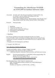 Protokoll der 1. Sitzung des Arbeitskreises Wasser - Gebsattel