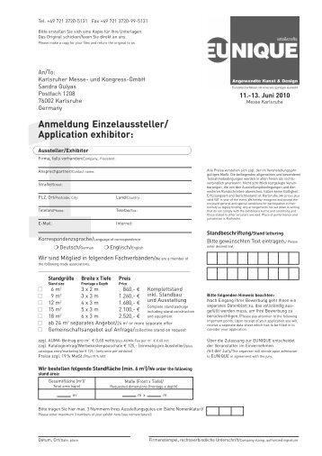 Anmeldeunterlagen EUNIQUE 2010 - GEDOK-Stuttgart