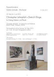 Christopher Lehmpfuhl • Dietrich Klinge - Galerie Schrade