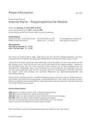 Presse-Information Antonio Marra ... - Galerie Schrade