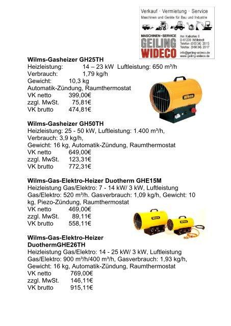 Wilms-Gasheizer GH25TH Heizleistung: 14 – 23 ... - Geiling Wideco