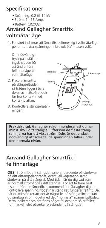 Använd Gallagher Smartfix i felfinnarläge ... - Gallagher.eu