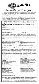FenceMaster Energizer - Gallagher - Page 2