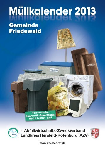 Müllkalender 2013 - Gemeinde Friedewald