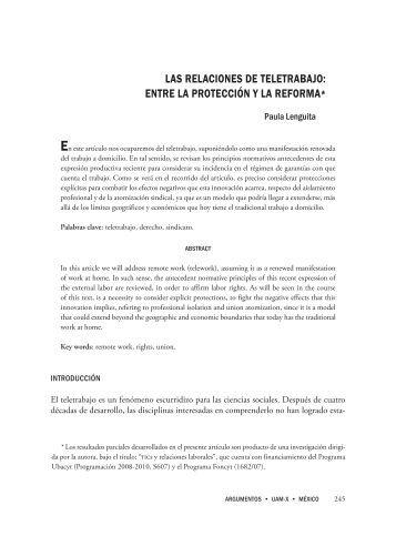 las relaciones de teletrabajo: entre la protección υ ... - SciELO - UNAM