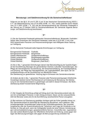 und Gebührenordnung für die Gemeinschaftshäuser - PDF