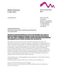 Medienmitteilung 8. März 2012 - Zentrum Paul Klee
