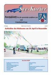 Aufstellen des Maibaums am 30. April in Neuseddin - Gemeinde ...