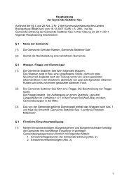 1 Hauptsatzung der Gemeinde Seddiner See Aufgrund der §§ 4 und ...