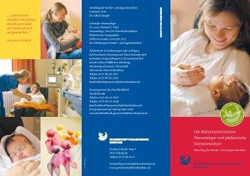 Flyer Babyintensivstation - Gemeinschaftskrankenhaus Herdecke