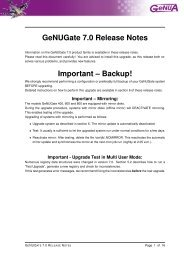 GeNUGate 7.0 Release Notes Important – Backup! - GeNUA