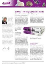 GeNULetter Nr. 12 von Dezember 2011 - GeNUA