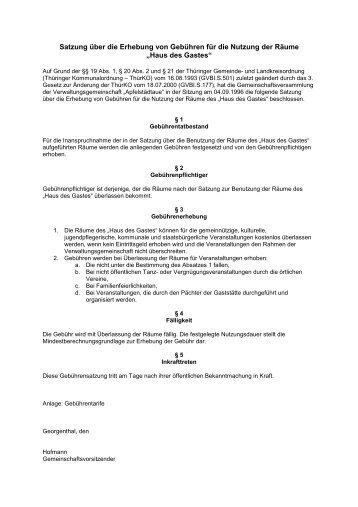 Gebührensatzung zu Nutzung der Räume - Georgenthal