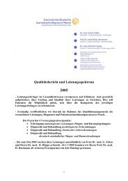 Qualitätsbericht und Leistungsspektrum 2005