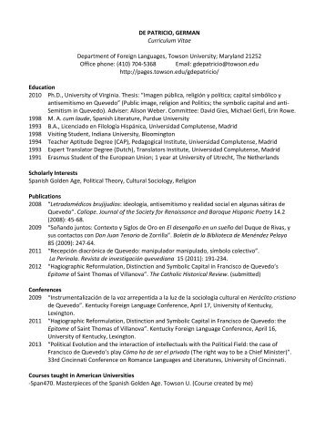 Curriculum Vitae Towson University Search Page