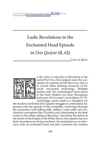 Ludic Revelations in the Enchanted Head Episode in Don ... - H-Net
