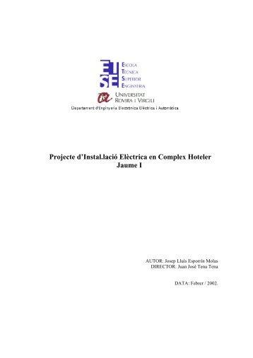 Projecte d'Instal.lació Elèctrica en Complex Hoteler Jaume I