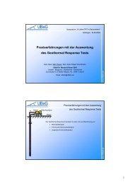 Praxiserfahrungen mit der Auswertung des Geothermal Response ...
