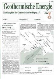 Mitteilungshlett der Geethermisehen Vereinigung e. V. - Geothermie