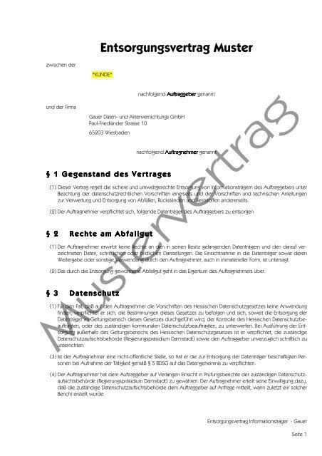 Mustervertrag Gauer Datenvernichtung Und Aktenvernichtung Gmbh