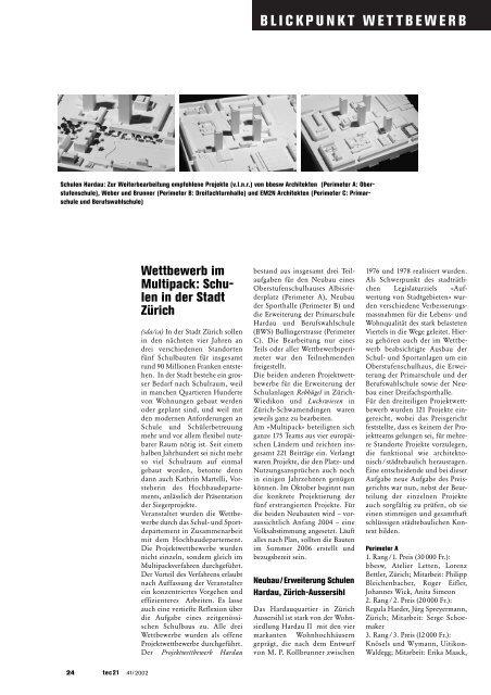 BLICKPUNKT WETTBEWERB - studer simeon bettler GmbH