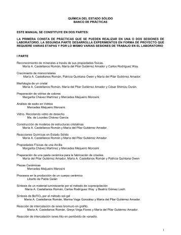 PROGRAMA QUÍMICA DEL ESTADO SÓLIDO - DePa - UNAM