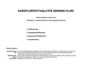 Kurzfilmfestivalliste German Films