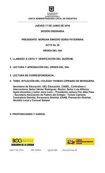 ORDINARIA JUNIO 17 DE 2010 Acta No 30