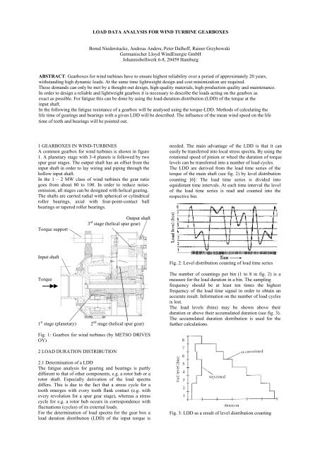 LOAD DATA ANALYSIS FOR WIND TURBINE GEARBOXES Bernd