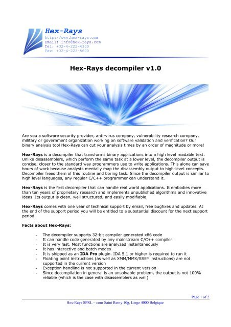 Hex-Rays decompiler v1 0