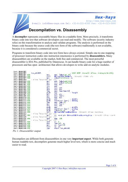 Decompilation vs  Disassembly - Hex-Rays