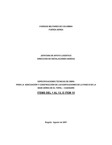 ITEMS DEL 1 AL 13, E ITEM 15 - Portal Único de Contratación