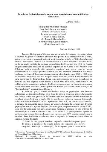 o novo imperialismo e suas justificativas culturalistas - Unicamp