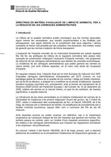directrius en matèria d'avaluació de l'impacte normatiu, per a la ...