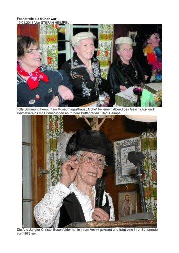 Fasnet wie sie früher war - Geschichts- und Heimatverein eV ...