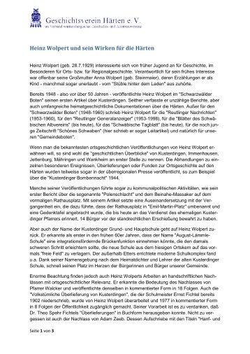 Heinz Wolpert und sein Wirken für die Härten - Geschichtsverein ...