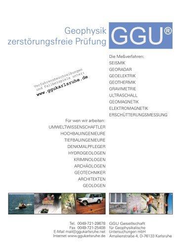 Geophysik zerstörungsfreie Prüfung Geophysik ... - GGU Karlsruhe