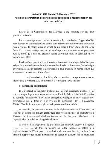 Avis n° 415/12 CM du 20 décembre 2012 r