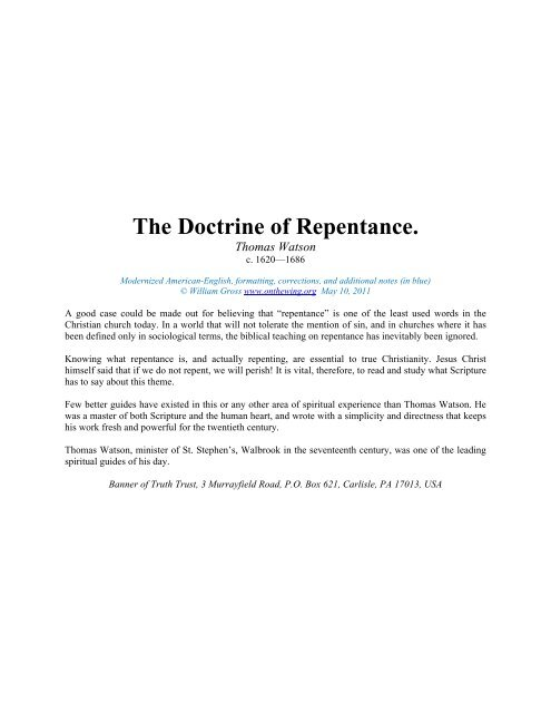 The Doctrine of Repentance ( pdf) - Onthewing org