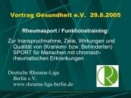Vortrag Gesundheit e.V. 29.8.2005 - Gesundheit Berlin eV