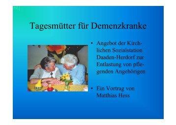 Tagesmütter für Demenzkranke [Schreibgeschützt]