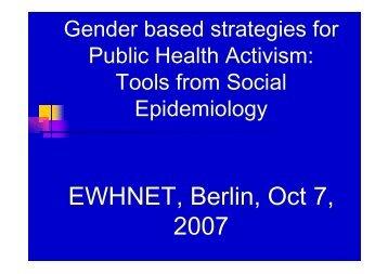 Gender Based Strategies for Public Health Activism