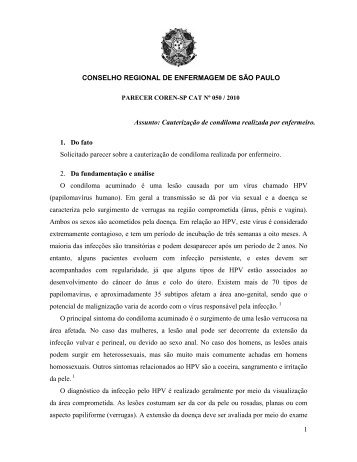 Cauterização de Condiloma Realizada - Coren-SP
