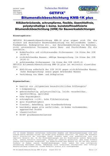 Technisches Merkblatt Bitumendickbeschichtung KMB-1K plus - Getifix