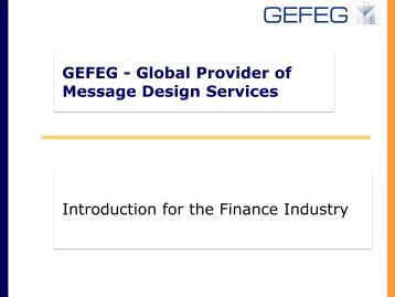 Introduction for the Finance Industry - GEFEG.FX