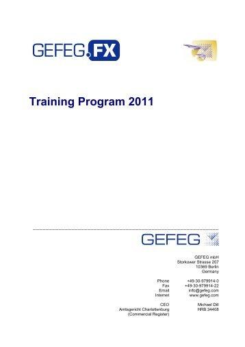 GEFEG Training Program 2011 - GEFEG.FX